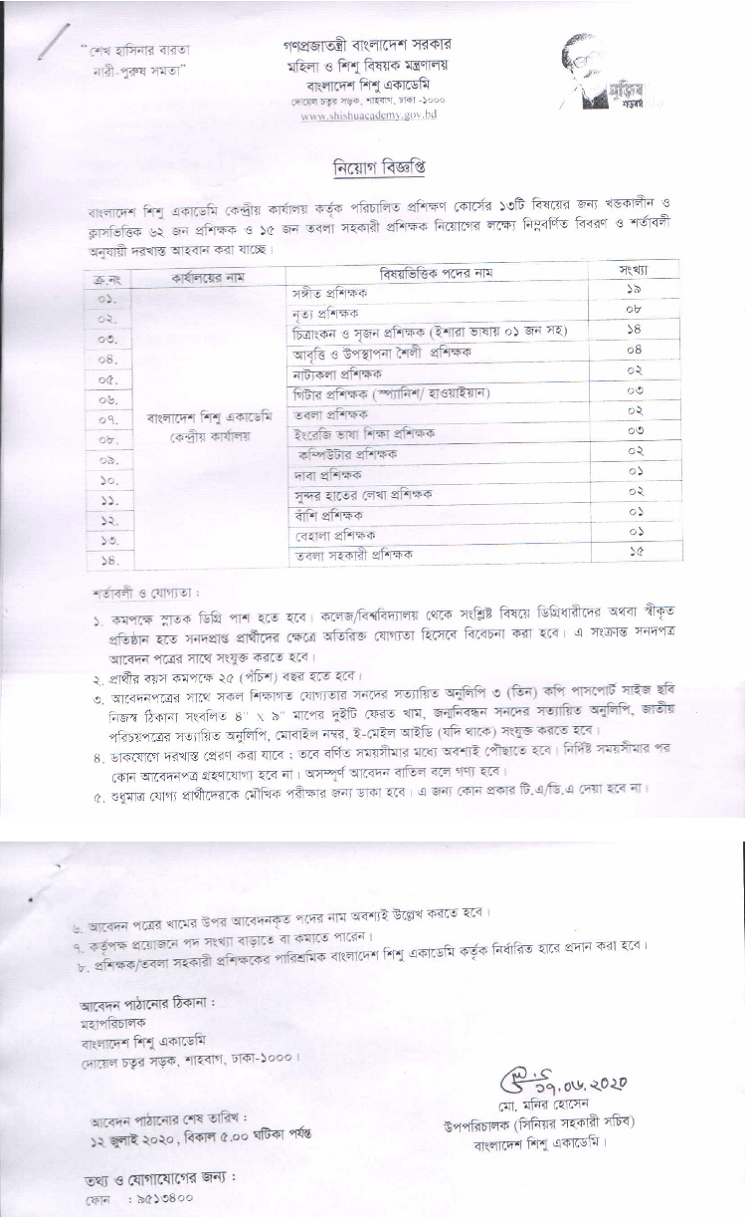 Maa O Shishu Community Health Center Job Circular 2020