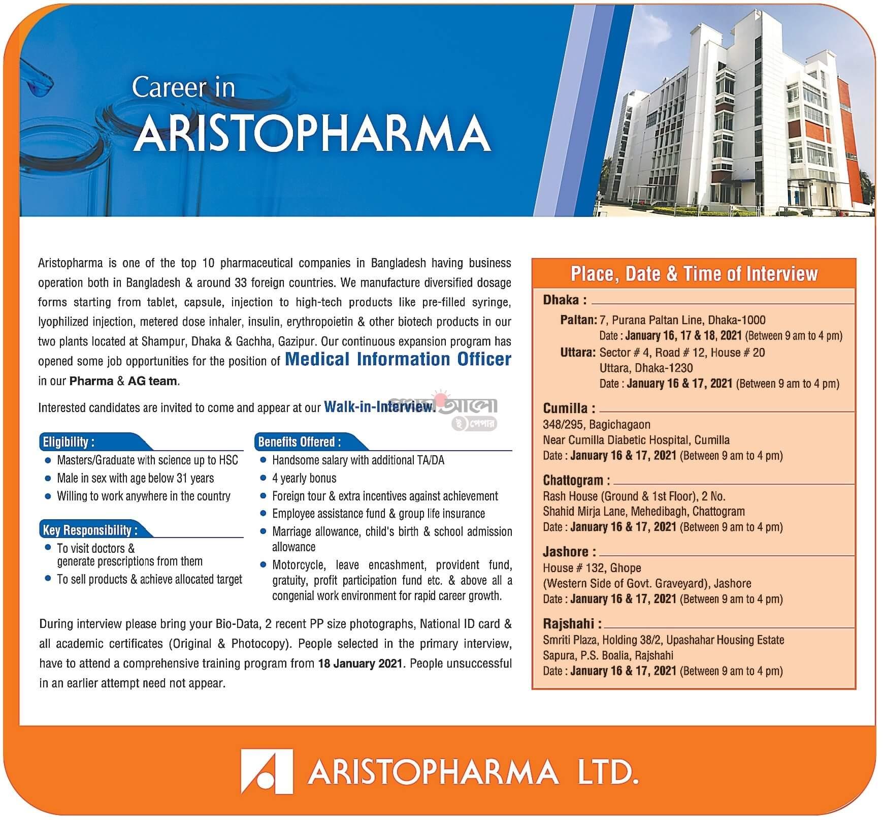 Aristopharma Ltd Jobs Circular 2021