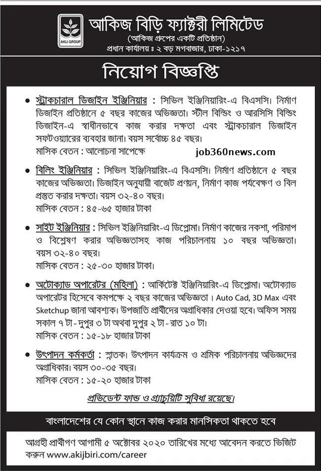 Akij Biri Factory LTD Job Circular