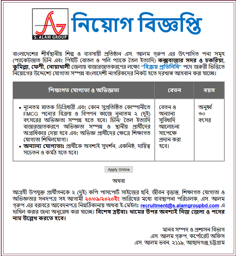 S. Alam Group Job Circular