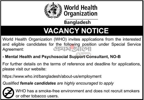 World Health Organization Jobs Circular