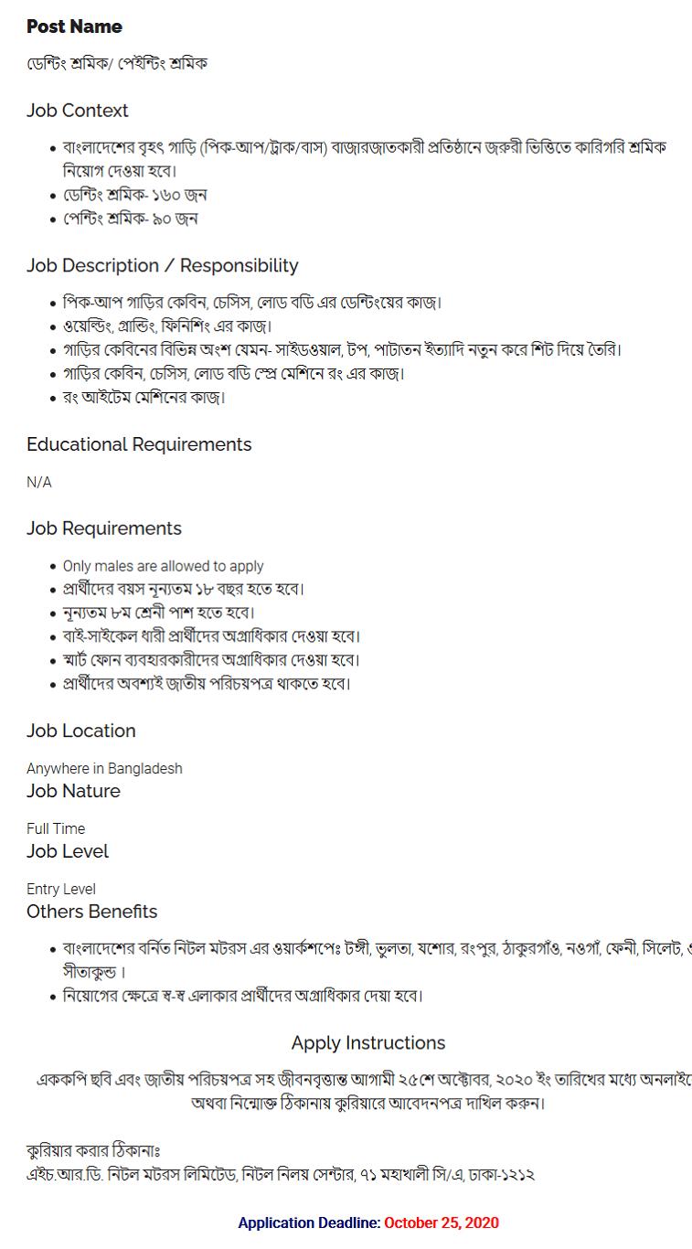 Nitol Motors Limited Jobs Circular