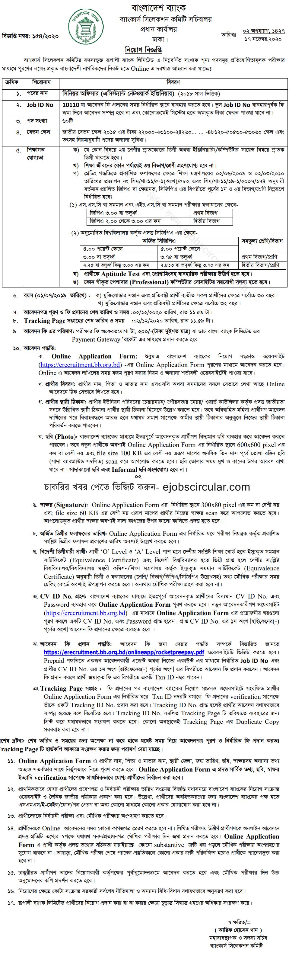 Rupali Bank Limited Job Circular Apply