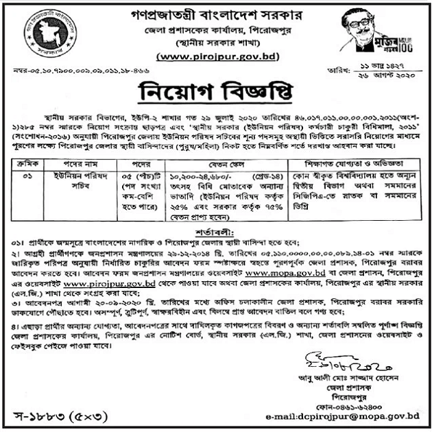 Union Parishad Jobs Circular