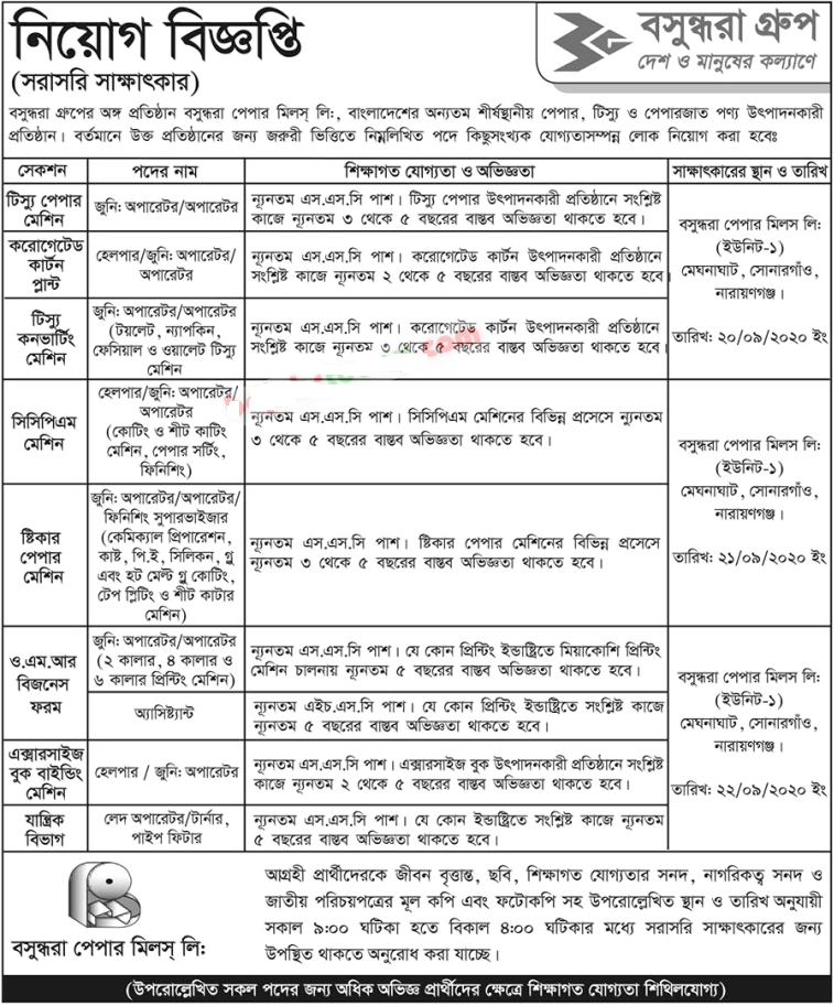 Bashundhara Paper Mills Limited job circular