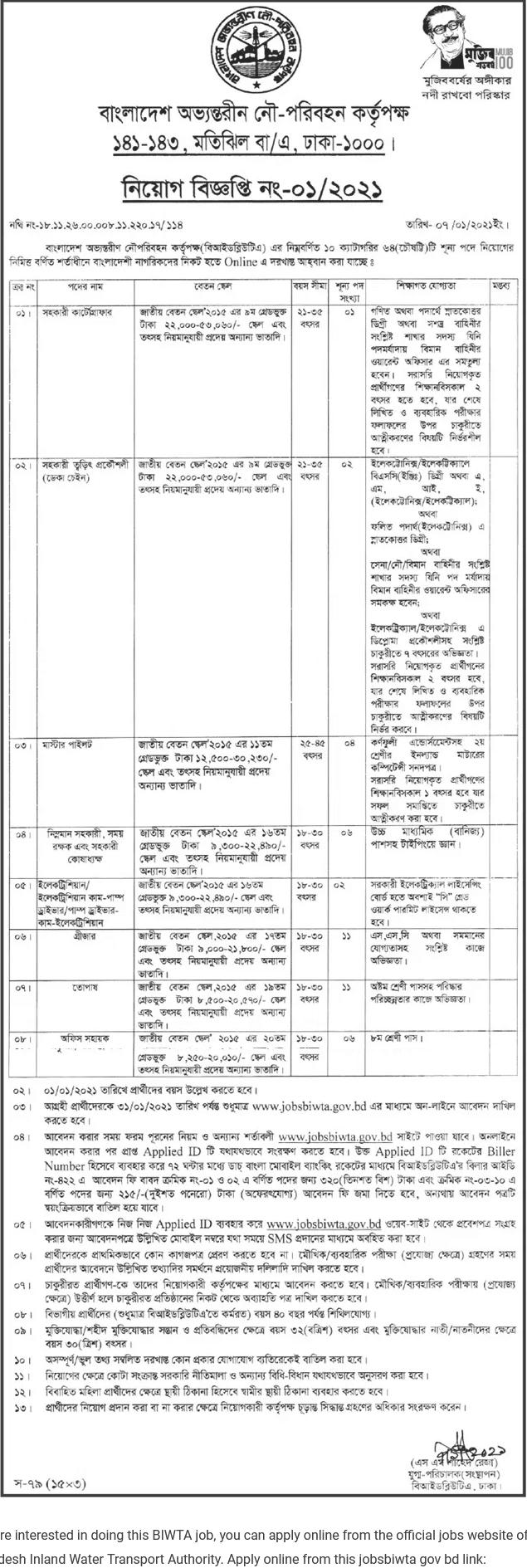 Bangladesh Inland Water Transport Authority BIWTA Job Circular 2021