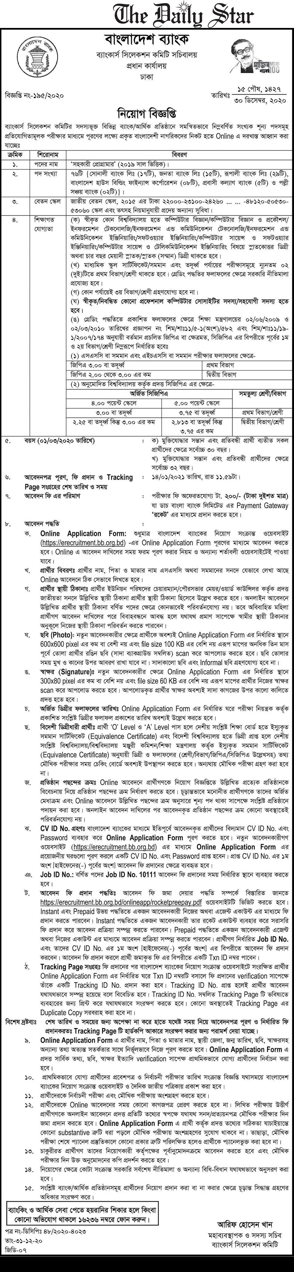 Janata Bank Limited Job Circular 2021