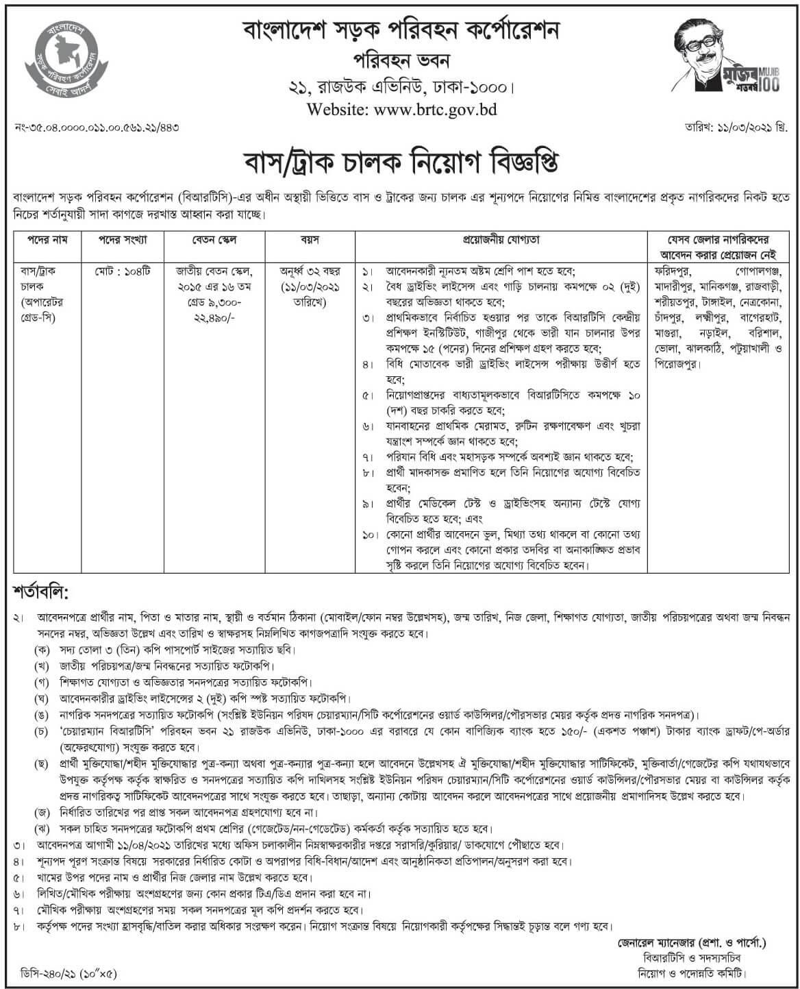 BRTC Job Circular 2021