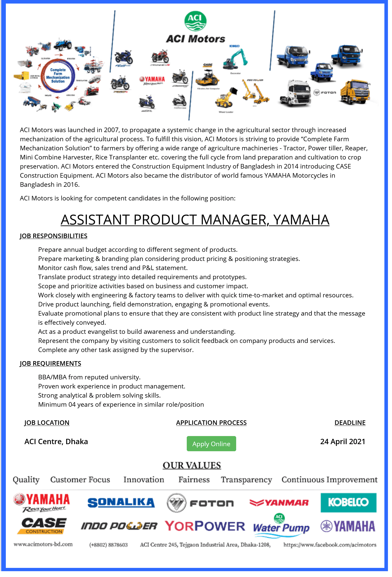 ACI Limited Job