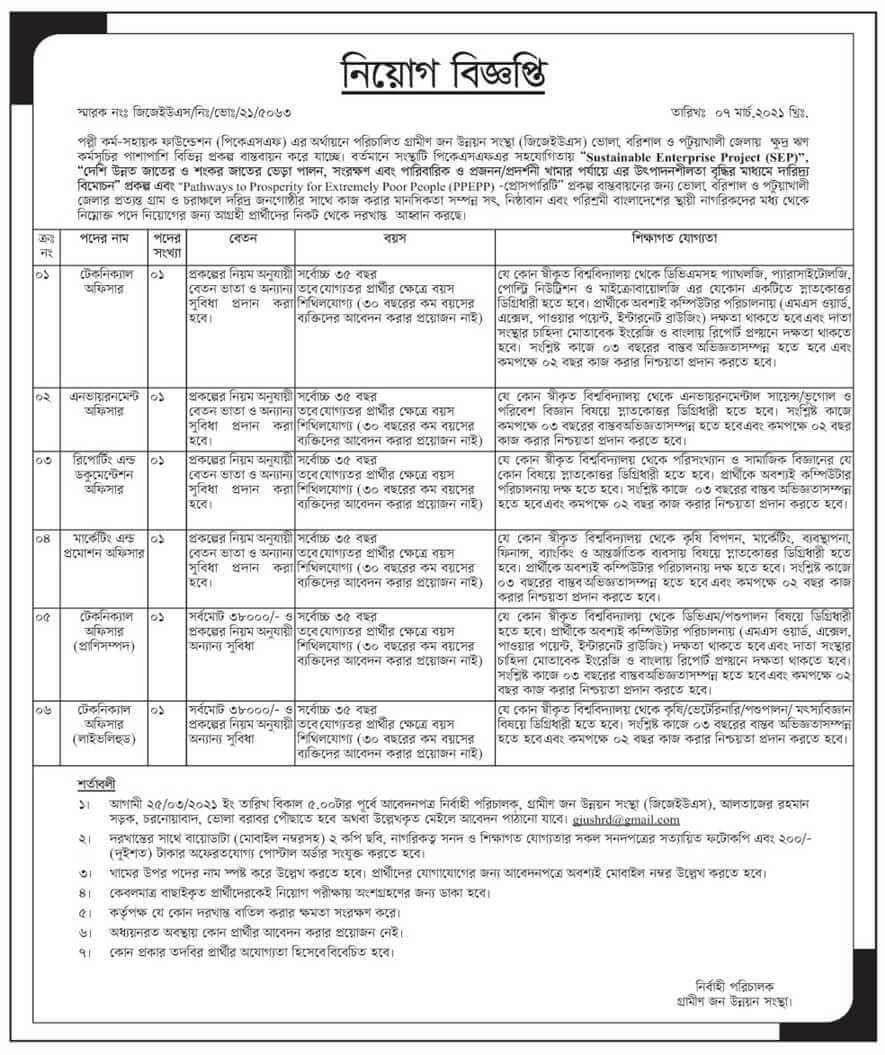 Palli Karma-Sahayak Foundation PKSF Job Circular 2021