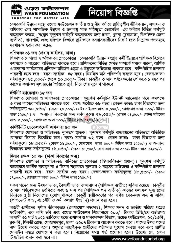 Wave Foundation NGO Job Circular 2021